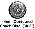 Romford 4mm - 14mm Contoured Coach Disc Wheels 26mm axle (price per axle)