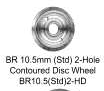 Romford 4mm - BR 10.5 2-Hole Contoured Disc Wheel (price per axle)