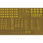 Modelmaster Decals - 1904-1948 G.W.R. Large sheet of lettering & numbers for N.S.P.C.C. Brown Vehicles