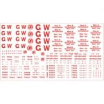 Modelmaster Decals (1923-1948) - G.W.R. Sheet of lettering for for White Insulated and Refrigerated Dairy, Fish and Meat Vans. RED