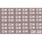 """Modelmaster Decals - G.W.R. Sheet of large 16"""" lettering for wagons as used between 1923 and 1936."""