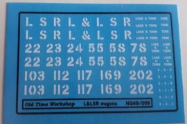 Old Time Workshop 009 Decals - L & LS (Swilly) Railway Freight Stock