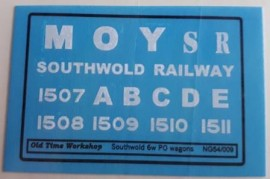 Old Time Workshop 009 Decals - Southwold Railway - 6w Clemonson Private Owner Wagons