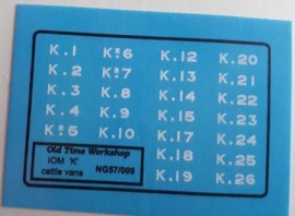 Old Time Workshop 009 Decals - Isle of Man Railway 'K' Cattle Wagons