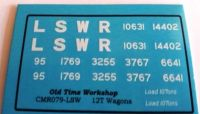 CMR079 (LSW) - Old Time Workshop 4mm Decals - LSWR Wagons