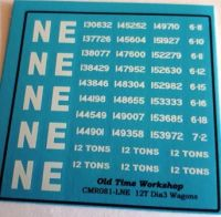 CMR081 (NE)- Old Time Workshop 4mm Decals -LNE 12T Wagons (to diagram 3)
