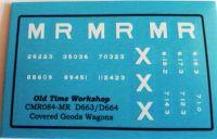 CMR084 (MR) - Old Time Workshop 4mm Decals - Midland D663 & 664 Covered Vans