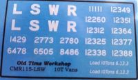 CMR115 (LSW) - Old Timw Workshop 4mm Decals - LSWR 10T Vans