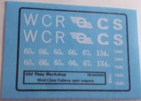 Old Time Workshop 009 Decals - West Clare Railway Open Wagons