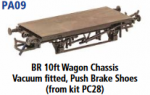 Parkside Models PA09 - BR 10ft. Vacuum Fitted, Push Brake Shoes (From Kit PC28) underframe kit