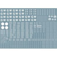 """Modelmaster Decals - G.W.R. 1904-1948 Large sheet of wagon lettering and numbers, including 16"""" and 4"""" GW lettering"""
