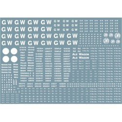 "Modelmaster Decals - G.W.R. 1904-1948 Large sheet of wagon lettering and numbers, including 16"" and 4"" GW lettering"
