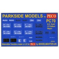 Decals for Parkside Models MMPC70 - BR 'Rudd' 21T Ballast Wagon