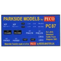 Decals for Parkside Models MMPC87 - Ex LMS Standard Cattle Truck Dia 1661