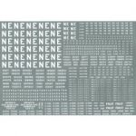 """Modelmaster Decals - L.N.E.R. Large sheet of wagon lettering and numbers, including 16"""" and 4"""" NE lettering. 1923-1947"""