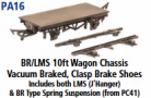 Parkside Models PA16 - BR/LMS 10ft. Vacuum Braked, Clasp Brake Shoes,  includes both LMS (J hanger) and BR type spring suspension (From Kit PC41) underframe kits