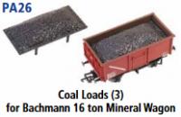 Parkside Models PA26 - Coal Loads For Bachmann/Parkside Dundas 16 Ton Mineral (Pack of 3 )