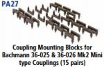 Parkside Models PA27 - Coupling Mounting Blocks - to suit Bachmann 36-025 & 36-026 Mk2 Mini Type Couplings (15 pairs)