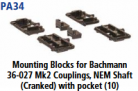 Parkside Models PA34 - Mounting Blocks for Bachmann 36-027 Mk2 Couplings NEM Shaft (Cranked) with pocket (10)