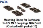 Parkside Models PA34 - Mounting Blocks for Bachmann 36-027 Mk2 Couplings NEM Shaft (Cranked) with pocket (10)