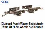 Parkside Models PA38 - Diamond Frame Wagon Bogies, Pair