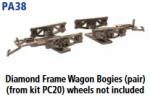 Parkside Models PA38 - Diamond Frame Wagon Bogies, Pair
