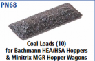 Peco N Gauge Wagon Loads (EX Parkside PN68) - Coal Loads (10) for Bachmann HEA/HAS Hoppers