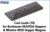 Peco N Gauge Wagon Loads (EX Parkside PN68) - Coal Loads (10) for Bachmann HEA/HAS Hoppers