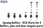 Parkside Models PS51 - Sprung Wagon Buffers (parts for 4 buffers) RCH style