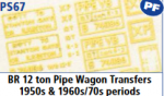 Parkside Models 7mm - BR 12 Ton Pipe Wagon Transfers 1950s & 1960s/70s periods
