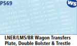 Parkside Models 7mm - LNER/LMS/BR Wagon Transfers Plate, Double Bolster & Trestle