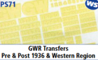 Parkside Models 7mm - GWR Transfers Pre & Post 1936 & Western Region
