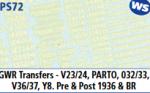 Parkside Models 7mm - GWR Transfers V23.24, Parto, 032/33, V36/37, Y8. Pre & Post 1936 & BR