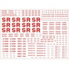 Modelmaster Decals - Southern Railway. Sheet of lettering for for Stone coloured Insulated and Refrigerated Dairy, Fish and Meat Vans. 1923-1947 (RED)